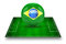 3d image of green soccer field and soccer-ball with Brazil logo