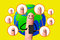 Happy finger using mobile phone with world map, Social network c