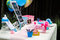 Baby shower welcome decorations on table