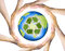 Hands making a circle  Surrounding the recycle Earth