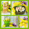 Collage of four images of Happy Easter yellow and lime green theme gingerbread bunny cookies