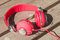 Bright red wired headphones