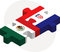 Mexico and Croatia Flags in puzzle