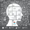 Infographic Head jigsaw with doodles line drawing success