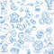 Seamless pattern of blue doodles on business theme 3