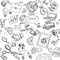 Seamless pattern of black doodles on business theme 1