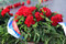 Wreaths with the flags of Russia.
