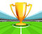 Champion cup in the midfield of football stadium vector
