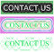 Green color rectangular background with contact us spell