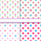 Set of floral and polka dot fabric seamless patterns
