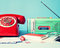 Vintage radio and telephone