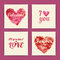 Set of  valentine invitation cards