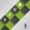 Flat abstract infographics dark green business vector with icons