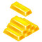 Gold bar pyramid 3D design isolated