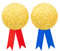 Gold paper seal or medal with blue and red bow set isolated