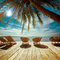 Tropical beach with palm tree and chairs for relaxation on woode