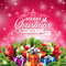 Vector Christmas illustration with typographic design and shiny holiday elements on red background.