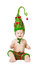 Christmas Baby Kid in Green Hat Decoration As Xmas Tree Child