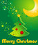 Greeting card with Christmas tree, stars and moon