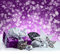 Purple Christmas package , gift of a silver ribbon. Jingle bells , silver christmas balls and christmas stars put on snow. Abstrac