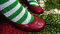 Christmas socks and red shoes