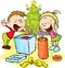 Children under the Christmas tree unwrap gifts