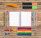 Back to School or office tools on wood background