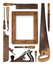 Collage work wood tools carpenter forming a frame