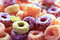 Colorful cereal loops close up