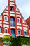 Picturesque red and white house in the old town of Lueneburg, Germany