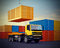 Truck on background of stack of freight containers