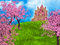 Fairy tale background with fantasy castle and sakura