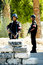 Egyptian Police Officers stand on post