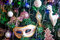 Decoration on a Christmas tree in the form of carnival mask