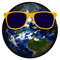 Planet Earth Yellow Sunglasses Isolated