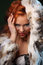 Photo of sexual beautiful girl is in fashion style, lingerie, fur coat