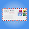 Envelope with stamps (mountains, crystal, paper airplane and clover) vector