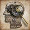 Brain gears and cogs. Mental illness, psychology