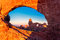 Turret Arch through the North Window at sunrise in Arches National Park near Moab, Utah