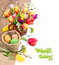 Colorful Easter border with bunch of tulips and painted eggs on