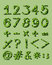 Numerical figures with green artwork