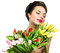 Woman with spring tulip flowers bouquet