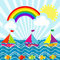 Cartoon landscape with sailing boats and rainbow