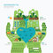 Infographic nature care hand shape template design.save nature