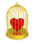 Golden birdcage with trapped heart