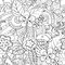 Black and white abstract psychedelic seamless pattern
