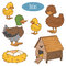 Set of farm animals and objects, vector family duck