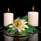 spa setting of passiflora flower, green leaf with drop and candles on zen stones in ripple reflection water, closeup