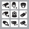 Collection of CCTV and security camera vector icon