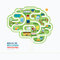 Infographic education human brain shape template design.learn
